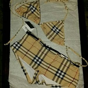 New Burberry 2 pc Swim Suit Large